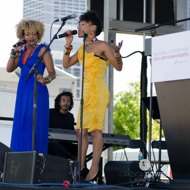 Les Nubians take the stage at the groundbreaking ceremony for the National Center for Civil and Human Rights
