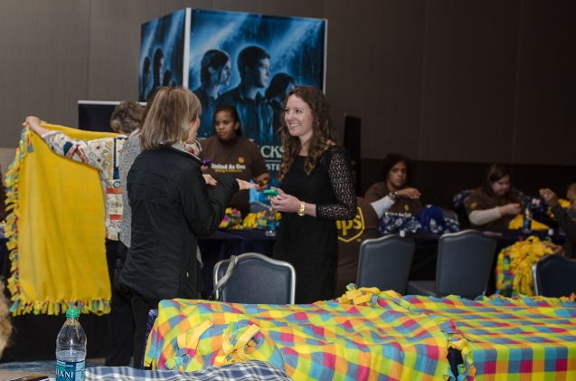 Twentieth Century Fox Home Entertainment and UPS celebrate the December 17th Blu-ray, DVD and Digital HD(TM) release of Percy Jackson: Sea of Monsters with an exclusive charity event to support Project Linus at the Georgia Aquarium in Atlanta on Monday, December 16th. Inspired by the Golden Fleece in the film, event goers made handmade fleece blankets for kids in need to kick off Project Linus' annual National Make a Blanket Day on February 15th.