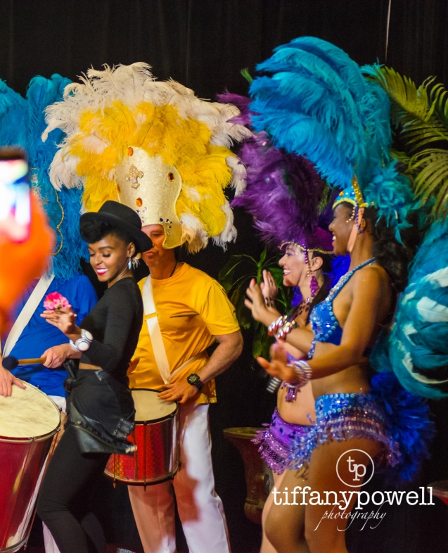 Janelle Monae getting her dance & Drum on at Rio2 Premier