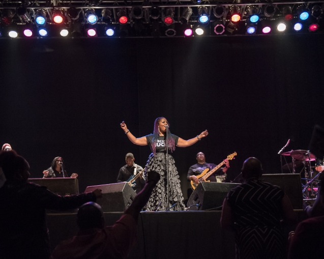 Lalah Hathaway greets the audience at her sold out concert in Atlanta